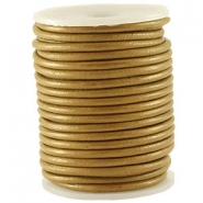 DQ Leer rond 3 mm Pale gold metallic