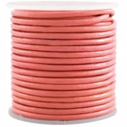 DQ Leer rond 3 mm Paparacha roze rood