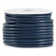 DQ leer rond 3mm Donker blauw