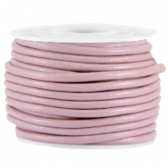 DQ leer rond 3mm Dark lilac rose