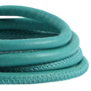 Professional Quality leer gestikt 5x4mm Turquoise mint groen