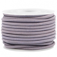 DQ leer rond 3 mm Dark lilac purple - vintage finish