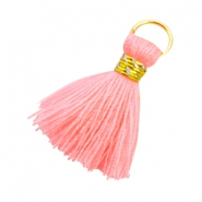 Kwastjes Ibiza style 2cm Goud-Neon coral pink