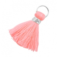 Kwastjes Ibiza style 2cm Zilver-Neon coral pink