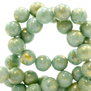 4 mm natuursteen kralen rond jade Gold-shire green