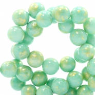 4 mm natuursteen kralen rond jade Gold-light turquoise green