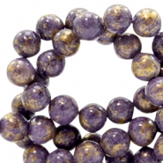 4 mm natuursteen kralen rond jade Gold-candy violet purple