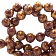 4 mm natuursteen kralen rond jade Gold-dark brown