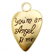 "Bedels TQ metaal hart ""You're an Angel to me"" Goud (nikkelvrij)"