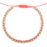 Trendy armbanden strass Coral pink-crystal