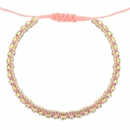 Trendy armbanden strass Dark peached pink-crystal