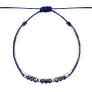 Trendy armbanden facet Dark blue-white silver