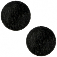 Faux fur cabochons 20mm Black
