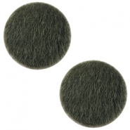 Faux fur cabochons 20mm Army green
