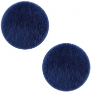 Faux fur cabochons 20mm Dark blue