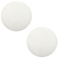 Faux fur cabochons 20mm White