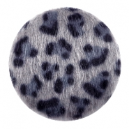 Faux fur cabochons leopard 35mm Grey-blue