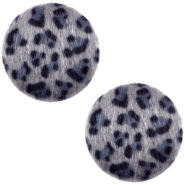 Faux fur cabochons leopard 20mm Grey-blue