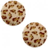 Faux fur cabochons leopard 20mm Brown