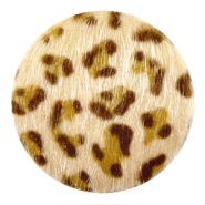 Faux fur cabochons leopard 35mm Light brown