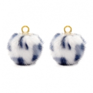 Pompom bedels Faux fur leopard White-grey