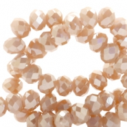 Top Facet kralen 4x3 mm disc Nude rose gold-top shine coating