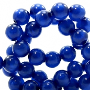 Polaris kralen rond 6 mm pearl shine Cobalt blue