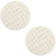 DQ leer cabochons 20mm Off white