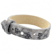 Cuoio armbanden leer 15 mm voor 20 mm cabochon Rock ridge grey Panther