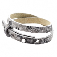 Cuoio armbanden leer 8 mm dubbel voor 12 mm cabochon Rock ridge grey Panther