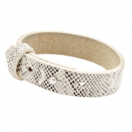 Cuoio armbanden leer 15 mm voor 20 mm cabochon Snake white