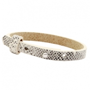 Cuoio armbanden leer 8 mm voor 12 mm cabochon Snake white