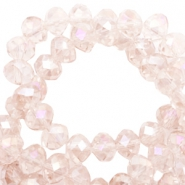 Top Facet kralen 8x6 mm disc Rose morn pink-pearl high shine coating