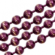 Ball chain gold line 3mm Purple