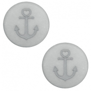 12 mm platte cabochon Polaris Elements Anchor Pewter grey
