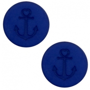 12 mm platte cabochon Polaris Elements Anchor Cobalt blue