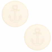 12 mm platte cabochon Polaris Elements Anchor Cloud cream white