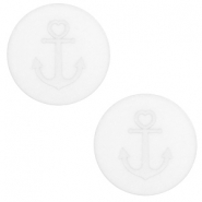 12 mm platte cabochon Polaris Elements Anchor White