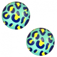 Cabochon basic 12mm Leopard-sea blue