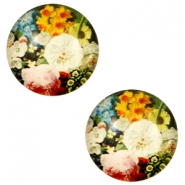 Cabochon basic 20mm Flowers-multicolour pink