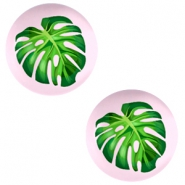 Cabochon basic 20mm Tropical palm leaf-palace rose
