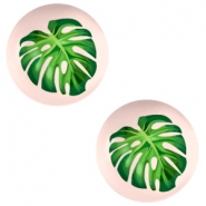 Cabochon basic 20mm Tropical palm leaf-creamy peach