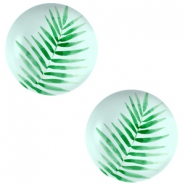Cabochon basic 12mm Fern leaf-light turquoise blue
