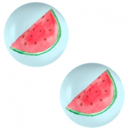 Cabochon basic 12mm Watermelon-sky blue