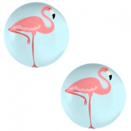 Cabochon basic 20mm Flamingo-sky blue