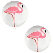 Cabochon basic 20mm Flamingo-light grey