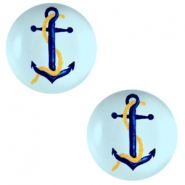 Cabochon basic 20mm Anchor-sky blue