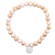Sisa top facet armbandjes 8x6mm (RVS bedel) Light rose-rosegold half pearl top shine coating