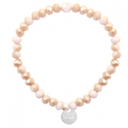 Sisa top facet armbandjes 6x4mm (RVS bedel) Light rose-rosegold half pearl top shine coating