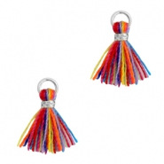 Kwastjes 1cm Zilver-Multi colour red blue
